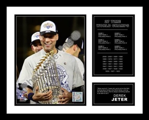 All About Autographs AAA-51276 Derek Jeter New York Yankees Framed Photograph 2009 World Series Trophy Milestone
