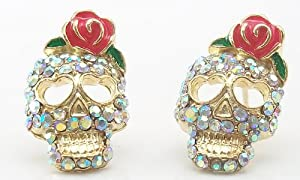 DaisyJewel Rose Skull Earrings - Top Seller - My Pretty Punk Glam & Girly Zombie Romance - Betsey Johnson Inspired Pink Coral Enamel Flower & Iridescent Diamond-Like Crystal Encrusted Pave Style Gold Sugar Skull Calavera Stud Earrings with Heart Shaped Ey