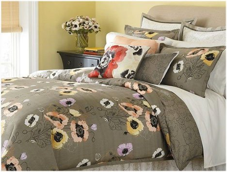 Martha Stewart Pastel Poppies Twin 4 Piece Comforter Bed In A Bag Set