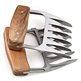 Metal Meat Claws, 1Easylife 18/8 Stainless Steel Meat Forks with Wooden Handle, Best Meat Claws for Shredding, Pulling, Handing, Lifting & Serving Pork, Turkey, Chicken, Brisket ( 2 Pcs,BPA Free)