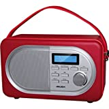 Dazzling Bush DAB Leather Radio - Red with accompanying 3.5mm Audio Cable
