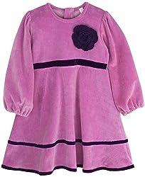 Oye Girls Long Sleeve Velour Dress - Purple (3-4Y)