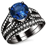 3.40ct Round Blue Sapphire Diamond Engagement Ring Bridal Set 18k Black Gold