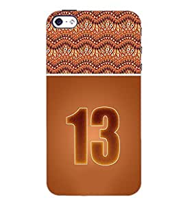 PrintDhaba Numerology Number 13 D-3646 Back Case Cover for APPLE IPHONE 4 (Multi-Coloured)