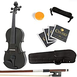 Mendini 1/10 MV Solid Wood Black Violin with Hard Case, Shoulder Rest, Bow, Rosin and Extra Strings, Black