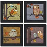 "Awesome Owls Set by Paul Brent 8""x8"" Art Print Poster"