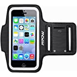Mpow® Running Sport Sweatproof Armband + Key Holder for iPhone 5/5S/5C, iPod Touch 5, with Adjustable size, Safey design, Suitable for Biking, Hiking, Canoeing, Walking, Horseback Riding, Gardening, Golfing, Shopping, Rollerblading, Downhill & Nordic Skiing, Housework