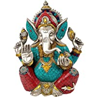 Aone India Lord Ganesha Seated In Easy Posture (Inlay Statue) + Cash Envelope (Pack Of 10)