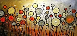 Ode-Rin Hand Painted Oil Paintingss Colorful Circle Plant 1 Panels Wood Inside Framed Hanging Wall Decoration