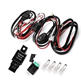 Auxbeam LED Light Bar Wiring Harness Kit 12V 40Amp Fuse Relay ON/OFF Switch for Driving Light Fog Light Work Light ( 2 Lead )