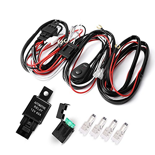 Auxbeam LED Light Bar Wiring Harness Kit 12V 40Amp Fuse Relay ON/OFF Switch for Driving Light Fog Light Work Light ( 2 Lead ) (Led Off Road Wire Harness compare prices)