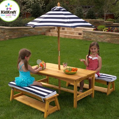 picture KidKraft Outdoor table and Chair Set with Cushions and Navy Stripes