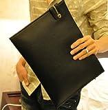DulKiss(ドゥルキス) メンズ レザー エンベロープ バッグ クラッチバッグ 紳士用 男性用 ビジネスバッグ / 通学 通勤 から プライベート まで (ブラック) DU-002