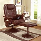 Massage Reclining Chair with Ottoman Color: Dark Brown