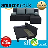 NEW Modus Corner Sofa Bed with Storage Black and Grey Fabric