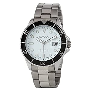 OMAX Men's Analog Stainless Steel Watch White - SS201