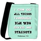 Snoogg Him Who Gives Me Strength Quote Womens Carry Around Cross Body Tote Handbag Sling Bags
