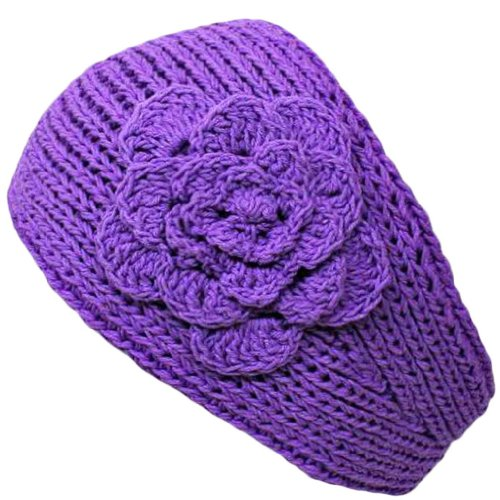 [Clothing & Accessories] Lilac Hand Made Knit Headband With Flower Detail   amazon.coms service   51cGSU3uqdL