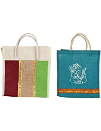 Cristal Bags Jute Shopping Bags (Pack Of 2, Jute-615)