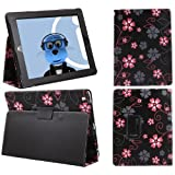 ITALKonline PADWEAR BLACK PINK FLOWERS Multi Function Multi Angle Luxury Executive Wallet Stand Cover Typing Case with Magnetic Sleep Wake Sensor Feature For Apple iPad Air (2013) (Wi-Fi and Wi-Fi + 3G) 16GB 32GB 64GB 128GB