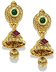 Zaveri Pearls Jhumka Earrings Traditional In Antique Gold Look Kundan - ZPFK5029