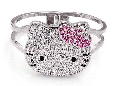 Large Hello Kitty Swarovski Crystal Bangle Bracelet