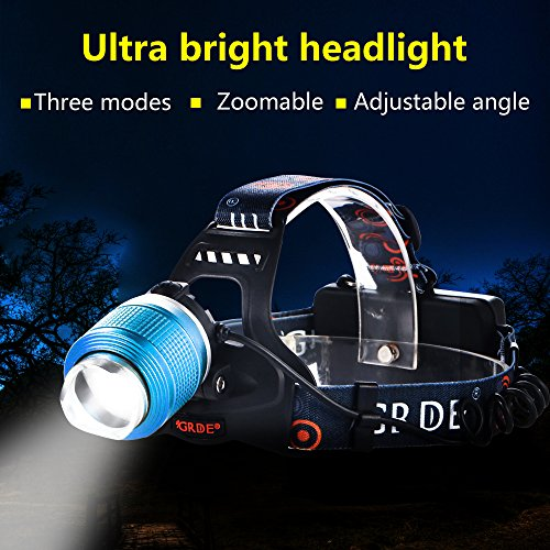 Ultra-Bright LED Headlamp 2000 Lumens Waterproof Headlight 3 Modes Head Torch Spotlight Floodlight Flashlight with 2pcs Rechargeable 18650 Batteries for Camping Biking Working Hunting (Blue)