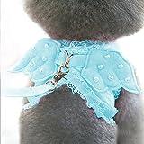 【Momugs Akira】ペット用 天使の羽 真珠付け キラキラ ハーネス&リードセット ペット牽引ロープ お出かけ 散歩グッズ 胸あて式 首輪 胴輪 おでかけ 簡単脱着式 軽量小型犬 中型犬 ペット用品
