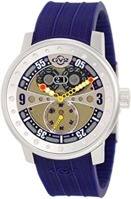 "GV2 by Gevril Men's 4042R3 ""Powerball"" Stainless Steel Watch with Blue Rubber Band"