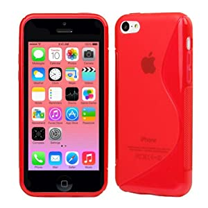 Evecase S-Line Slim TPU Case for 2013 Apple iPhone 5C (Red)
