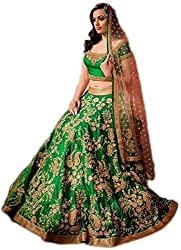 Sanjana Design fashion women green cotton designer bollywood style lehenga /partywear lehenga/heavy embroidered lehenga