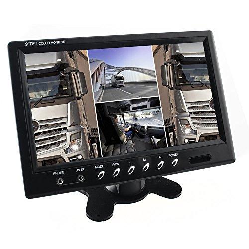 229cm-9-Zoll-Digital-Auto-TFT-LCD-Monitor-Quadscreen-H-Split-4x-RCA-VideoIn-169-NTSC-PAL-Multiplex-schwarz