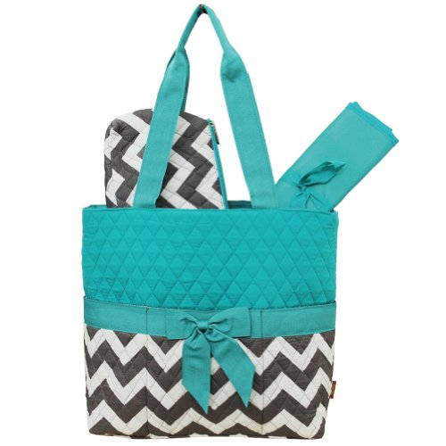 Grey & White Chevron Print 3pc. Diaper Bag (Aqua)