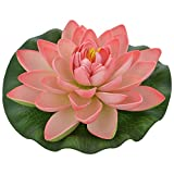 Veena Artificial Plastic Floating Light Pink Lotus with Rubber Leaf- Set of 3 (17 cms Diameter, Pink)