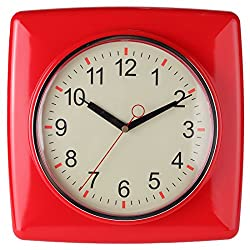 Square Retro Kitchen Wall Clock, Red. By Lily's Home®