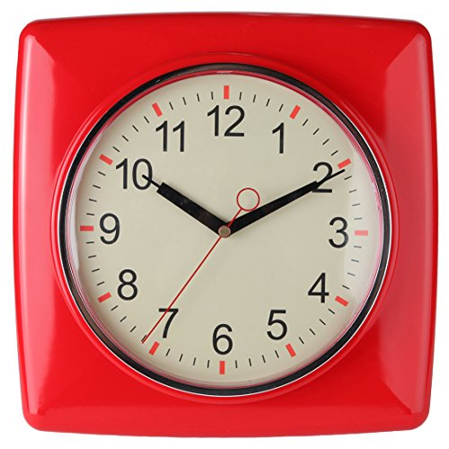 """Lily's Home Square Retro Kitchen Wall Clock, Large Dial Quartz Timepiece, Red, 11"""" 0"""