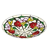 Lighting Web Co 14-inch Glass Tiffany Dragonfly Uplighter, Red/ Pink