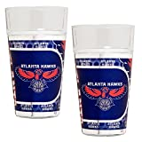 NBA Atlanta Hawks Pint Glass Set with Metallic Graphics (2-Piece), 16-Ounce, Clear