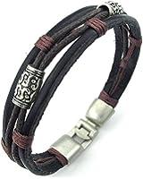 KONOV Bijoux Bracelet Homme - Tribal Tressé Manchette - Cuir Cordon - Alliage - Fantaisie - pour Homme et Femme - Chaîne de Main- Couleur Marron Noir Argent - Avec Sac Cadeau - F23553