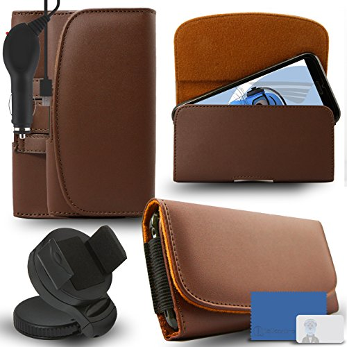 iTALKonline Samsung Galaxy A5 SM-A500G/DS Brown PREMIUM PU Leather horizontal Executive Side Pouch Case Cover Holster with Belt Loop Clip and Magnetic Closure and 1000 mAh Coiled In Car Charger LED Indicator and Overload Protection  available at amazon for Rs.660