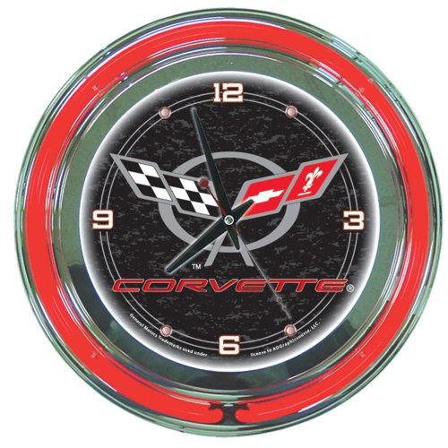 Trademark Corvette C5 14-Inch Diameter Neon Clock (Black)