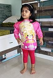PIGLOO Kids Long Sleeved Waterproof Smock Apron Bib for Painting, Art & Craft, Eating, Age: 3-5 Years (Pattern: Bear in Car)