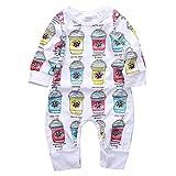幼児服 男の子 女の子 ジャンプスーツ 長袖 アイスクリーム柄 (95(18-24ヶ月))