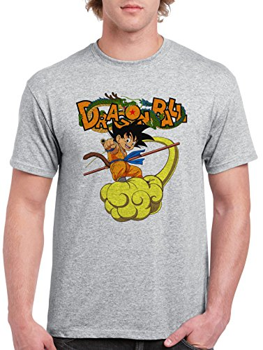 Dragon-Ball-Z-DBZ-Goku-On-Kinto-Camiseta-Para-Hombre-Gris-Todos-Los-Tamaos-Mens-T-Shirt-Grey