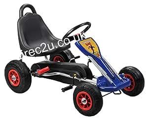 Kids pedal go-kart, hand brake, rubber tyres, Go kart 5 (Blue)
