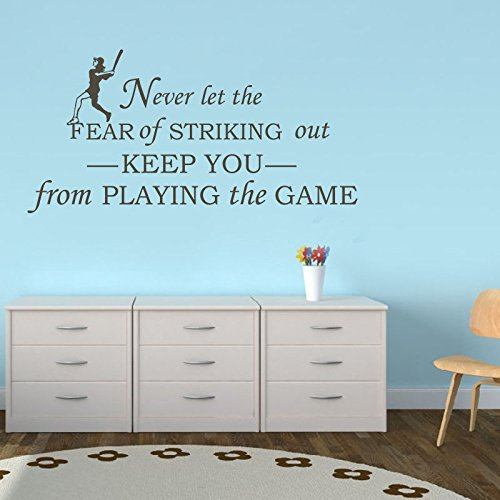 Never Let Fear Of Striking Out Keep You From Playing The Game - Sport Vinyl Wall Decal Baseball Kids Room Decor (Black, Large)