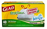 Glad Tall Kitchen Drawstring, Odor Shield, Vanilla Scent, 13 Gallon, 40 Count