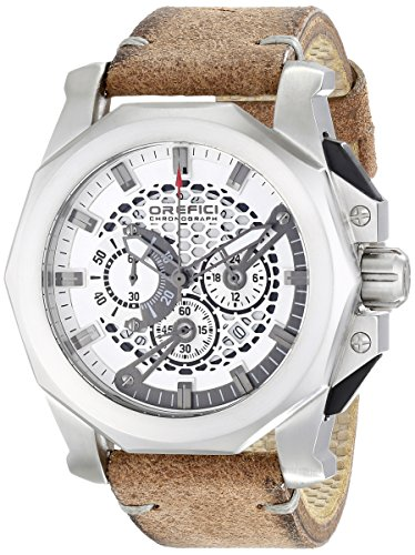 Orefici ORM2C4851V Men's Vintage Gladiatore Silver Dial Brown Suede Strap Chrono Watch