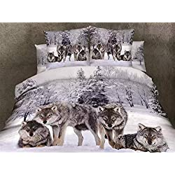500TC 3D Oil Wolf Bedding Sets 4PC,(1PC Duvet Cover,1PC Bed Sheet,2PC PillowCase ),100% Cotton King Queen Size Wolf Duvet Cover Sheet,Queen/Full Size