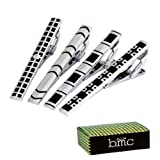 BMC 4pc Set Mens Metal Alloy Silver and Black Mix Design 2.2 Inch Tie Bar Clips